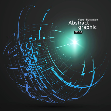 blue light background: Point, line, surface formed wireframe sphere, science and technology abstract illustration.