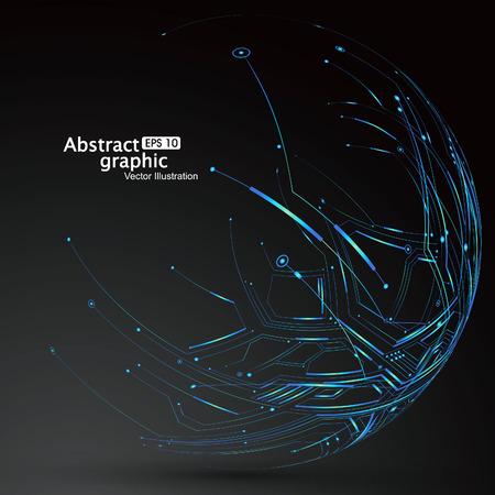 Punkt und Linie konstruiert, um die Kugel Drahtgitter-, technologischen Sinn abstrakte Darstellung.