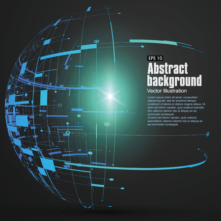 wireframe globe: Point, line, surface formed wireframe sphere, science and technology abstract illustration.