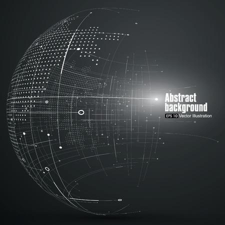 zeměkoule: Bod a křivka postavil koule drátový model, technický smysl abstraktní ilustrace. Ilustrace