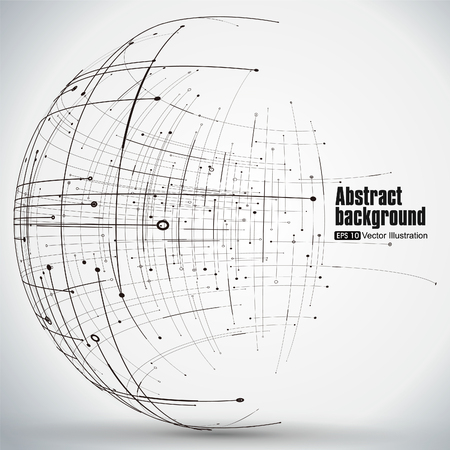 esfera: Punto y la curva construyen la esfera de estructura metálica, sentido tecnológico ilustración abstracta.