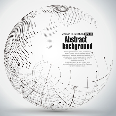 Point and curve constructed the sphere wireframe, technological sense abstract illustration. Vettoriali