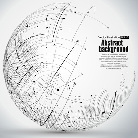 constructed: Point and curve constructed the sphere wireframe, technological sense abstract illustration. Illustration