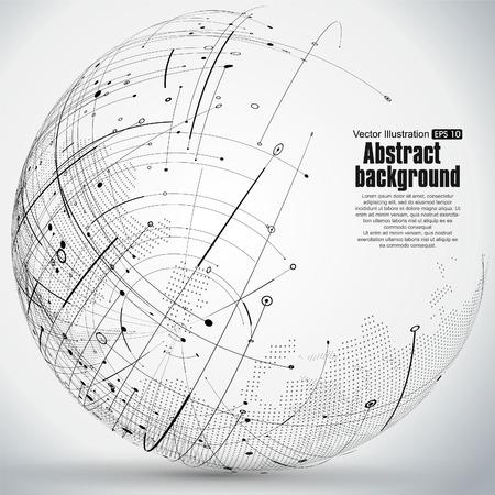 Point-and-Kurve konstruiert, um die Kugel Drahtgitter-, technologischen Sinn abstrakte Darstellung.