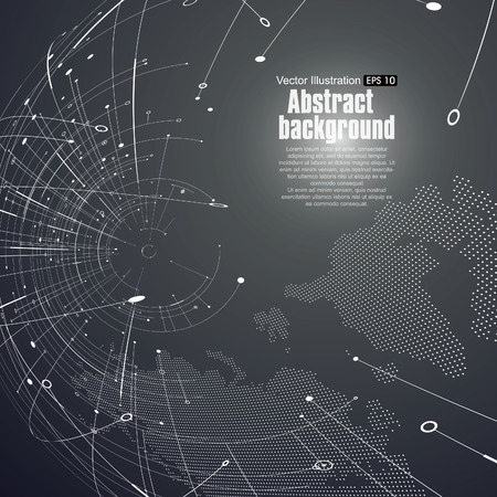 wireframe globe: Point and curve constructed the sphere wireframe, technological sense abstract illustration. Illustration