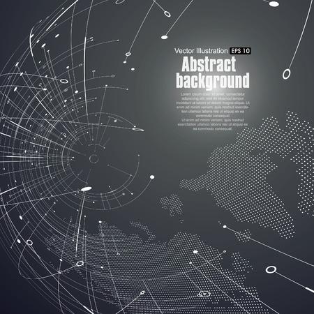 Punto y la curva construyen la esfera de estructura metálica, sentido tecnológico ilustración abstracta.
