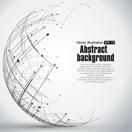 Point and curve constructed the sphere wireframe, technological sense abstract illustration. Иллюстрация