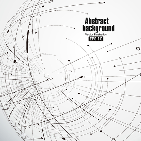 Point and curve constructed the sphere wireframe, technological sense abstract illustration.