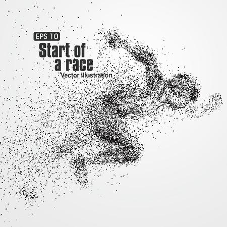 Running Man, deeltje uiteenlopende samenstelling, vector illustratie.