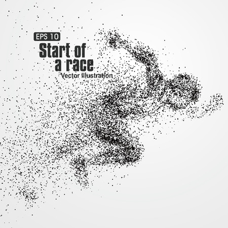 Running Man, particule composition divergente, illustration vectorielle.