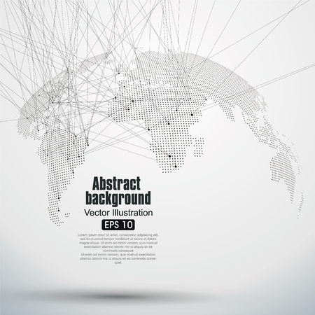 alrededor del mundo: Tridimensional resumen planeta, Dot mapa del mundo que consiste en, que representa la conexi�n mundial, Red global, significado internacional. Vectores