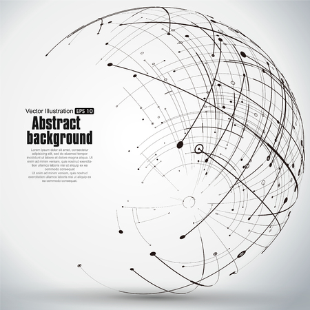 Point and curve constructed the technological sense abstract illustration.