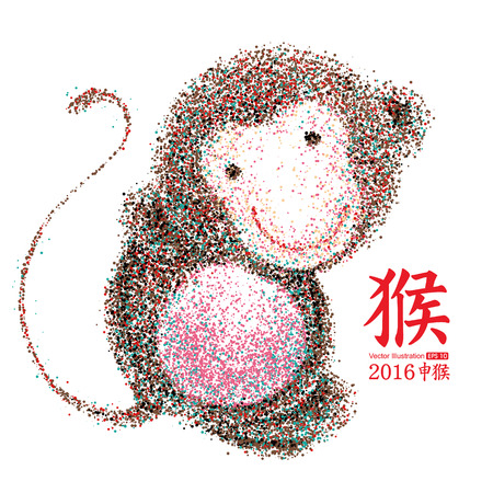 red sign: Chinese Year of the Monkey, Particles,vector illustration. Illustration