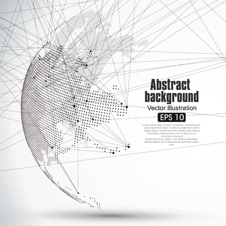 Three-dimensional abstract planet, Dot world map consisting of, representing the global, Global network connection,international meaning. Stok Fotoğraf - 52744387
