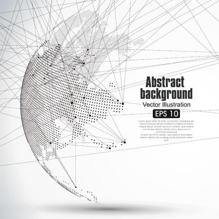 Trójwymiarowa abstrakcyjne planeta Dot mapa świata składa się z, co stanowi globalny, globalne połączenia sieciowego, międzynarodowe znaczenie.