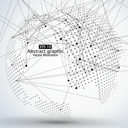 mesh: Three-dimensional abstract planet, Dot world map consisting of, representing the global, Global network connection,international meaning.