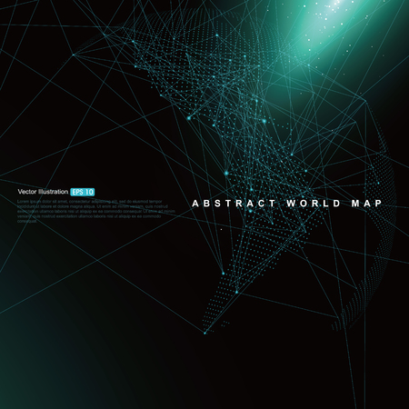 Three-dimensional abstract planet, Dot world map consisting of, representing the global, Global network connection,international meaning. Stok Fotoğraf - 52744447