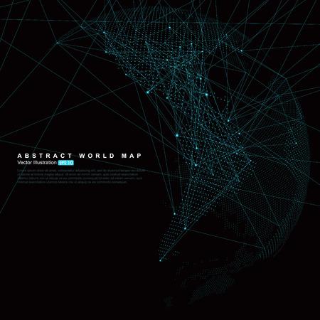 三次元の抽象的な惑星、ドット世界地図から成る、グローバル、グローバル ネットワーク接続を表す国際的な意味。