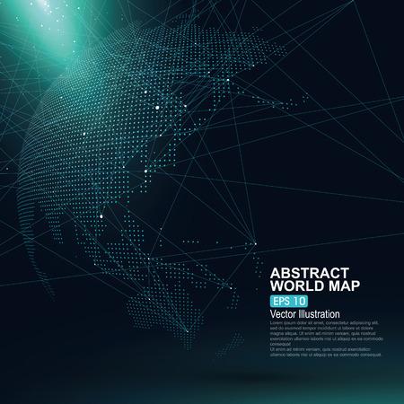Tridimensional resumen planeta, Dot mapa del mundo que consiste en, que representa la conexión mundial, Red global, significado internacional.