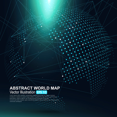 space travel: Three-dimensional abstract planet, Dot world map consisting of, representing the global, Global network connection,international meaning.