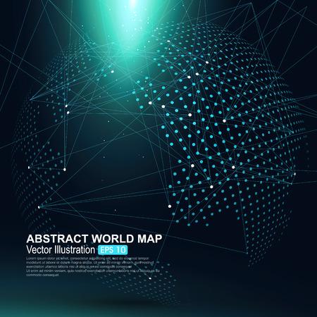 negocios internacionales: Tridimensional resumen planeta, Dot mapa del mundo que consiste en, que representa la conexión mundial, Red global, significado internacional. Vectores