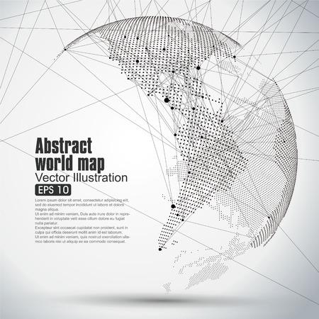 Trójwymiarowa abstrakcyjne planeta Dot mapa świata składa się z, co stanowi globalny, globalne połączenia sieciowego, międzynarodowe znaczenie. Ilustracje wektorowe