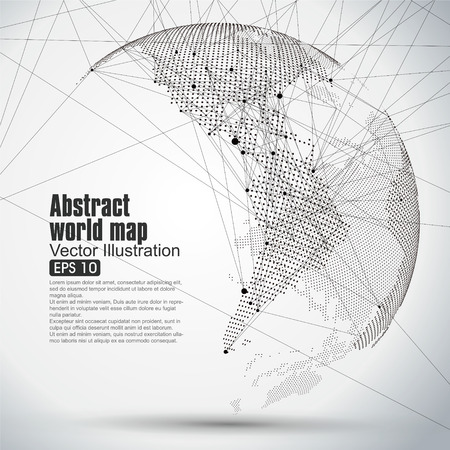 Tridimensionale astratto pianeta, Dot mappa del mondo composta da, che rappresenta la connessione di rete Globale significato internazionale. Vettoriali