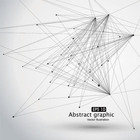 Punto y línea que consta de gráficos abstractos. Ilustración de vector