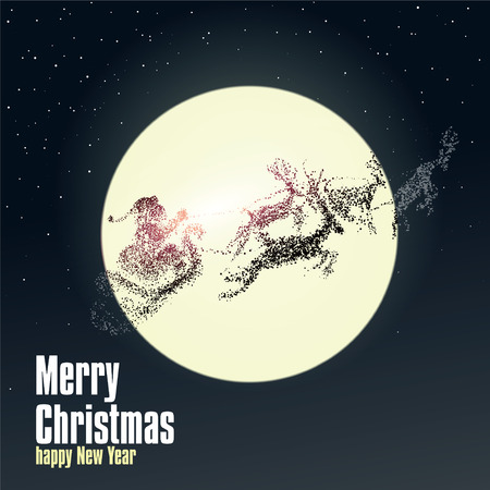 backlighting: Christmas Eve Santa Claus giving gifts, particles illustrations. Illustration
