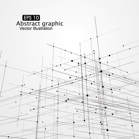 Dot and line composition abstract graphics.