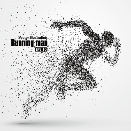 at leisure: Running Man, particle divergent composition, vector illustration.