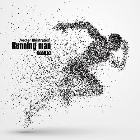 bewegung menschen: Running Man, Partikel divergent Zusammensetzung, Vektor-Illustration.