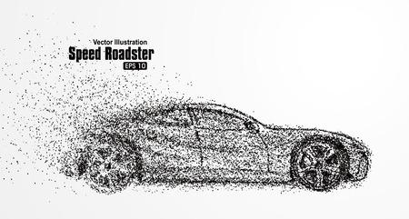 partículas automóvil descubierto, que simbolizan la ilustración del vector velocidad.