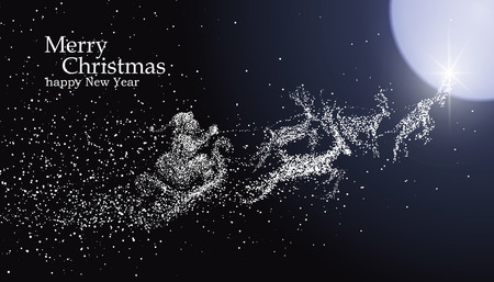 Christmas Eve Santa Claus giving gifts, vector particles illustrations. Stock Illustratie