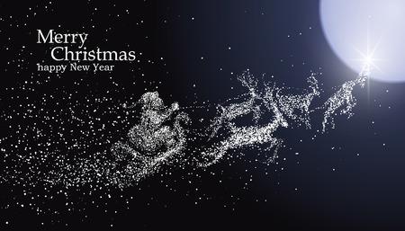 papa noel en trineo: La víspera de Navidad de Santa Claus repartiendo regalos, ilustraciones vector de partículas.