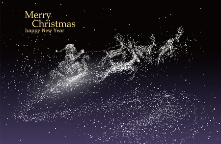 Christmas Eve Santa Claus giving gifts, vector particles illustrations. 일러스트