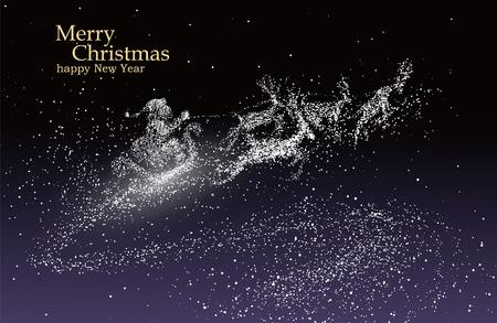 renna: Vigilia di Natale Babbo Natale che dà i regali, vettore particelle illustrazioni.