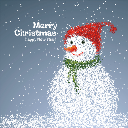 bit background: Snowman illustrations particles, it can be used New Year or Christmas card.