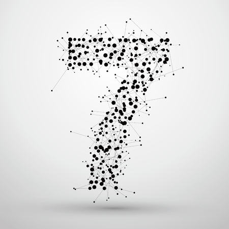 number 7: Number 7, consisting of points and lines, there is a sense of font design network technology.