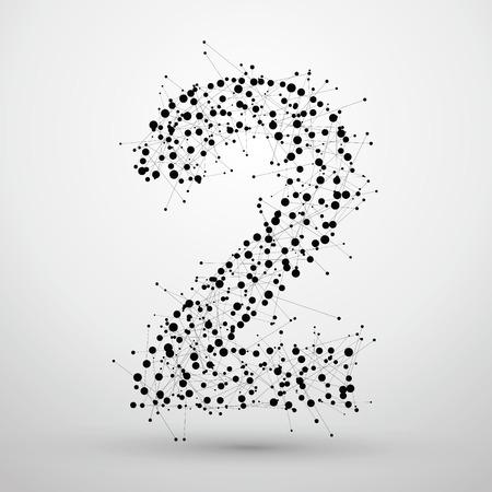 Numer 2, składający się z punktów i linii, nie ma poczucia technologii sieciowej projektowania czcionek.