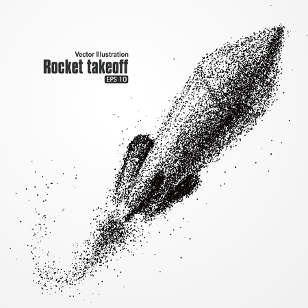 silhouettes people: Rocket takeoff, particle composition, with fast, beyond the significance