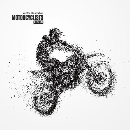 ciclista silueta: Las partículas motorista, llena de emprendedores a través de la ilustración del vector importancia.