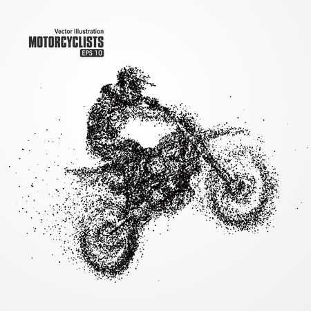 motorcycle rider: Particles biker, full of enterprising across significance vector illustration.