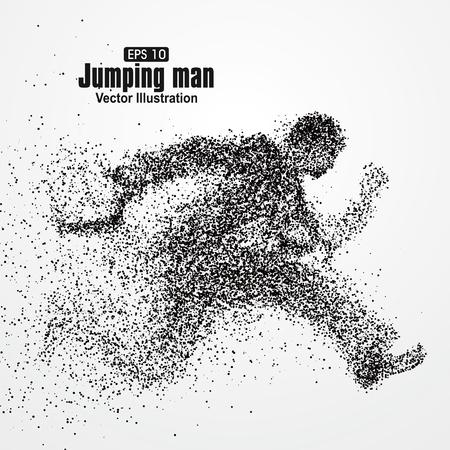 Jumping Man, Büroangestellte, Partikel divergent Zusammensetzung, Vektor-Illustration. Illustration