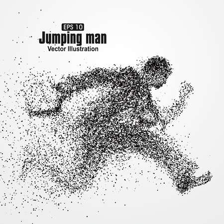 strive: Jumping Man, office workers, particle divergent composition, vector illustration.