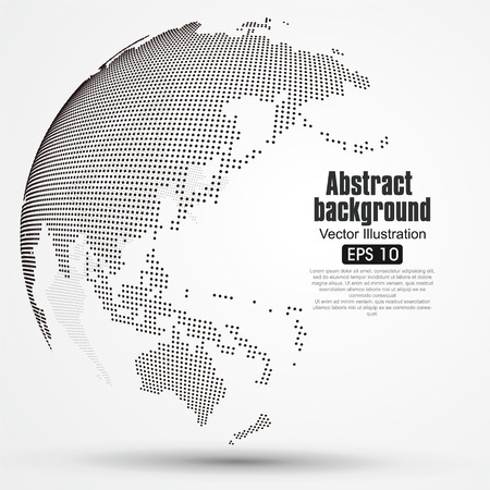 asia: Three-dimensional abstract planet, Dot world map consisting of, representing the global, Global network connection,international meaning.