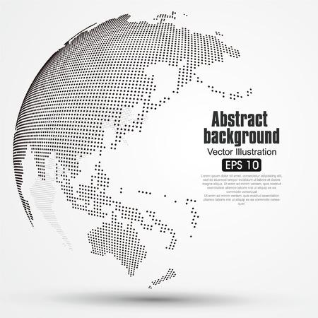 esfera: Tridimensional resumen planeta, Dot mapa del mundo que consiste en, que representa la conexión mundial, Red global, significado internacional. Vectores
