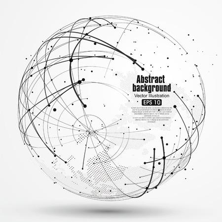 globe terrestre: Point et courbe construit le sens technologique illustration abstraite.