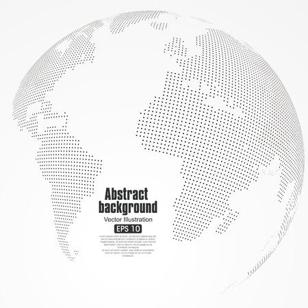 Trois dimensions planète abstraite, Dot carte du monde composé, représentant la connexion réseau mondial global, sens international.