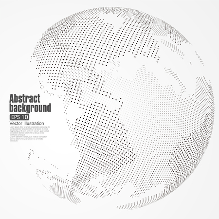 Tridimensional resumen planeta, Dot mapa del mundo que consiste en, que representa la conexión mundial, Red global, significado internacional. Ilustración de vector